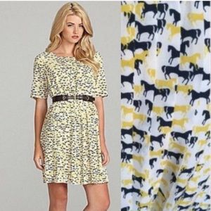 Cremieux pleated horse print dress with belt